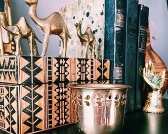 Vintage Solid Brass Filagree Candle Holder