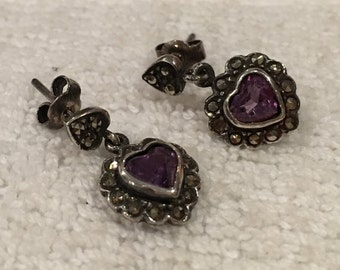 Absolutely Lovely Vintage Sterling Silver Drop Earrings-Heart shaped AMETHYST CRYSTALS & MARCASITES Dangling From the Base-Lovely 2cm Drop