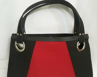 Red Black Tote Bag, Brown Faux Leather, Beach Bag, Work Bag, Travel Bag, Laptop Bag, Diaper Bag, Handbags, Large Purse, Teach Bag, Gift Idea