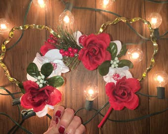 Holiday inspired floral ears