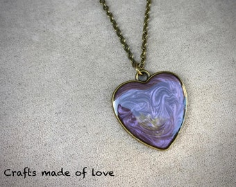 Purple heart shaped pendant