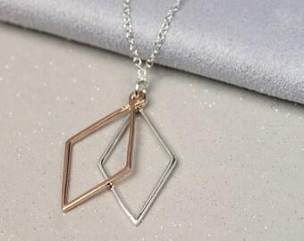 Mahalia Geometric Diamond Pendant, Sterling Silver, Rose Gold, Silver And Rose Gold Geometric Pendant, Geometric Jewelry, Geometry