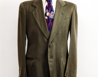 Vintage 1940s Single Breasted Olive Green Jacket Dated 1946