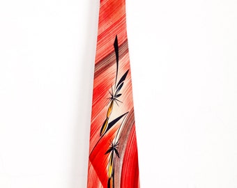 Vintage 1940s Bold Abstract Red Tie Hand Painted
