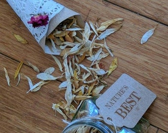 Brown and White Confetti, Cream, Beige, Gold, Green 'Nature's Best' - Natural Hand Dried, Biodegradable, Real Petal, Wedding Confetti