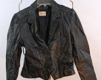Vintage Women's High Sierra Leather Jacket Black Size 11/12