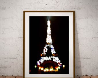 "Paris Photography, Shining Eiffel Tower, Fine Art Photography, Large Wall Art Print, 20 cm x 30 cm, 8"" x 12"""
