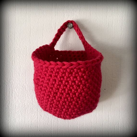 Handmade Peg Baskets : Hanging basket red handmade crochet cotton decor organizer
