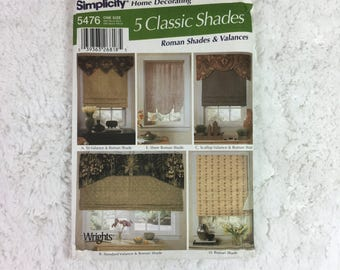 Simplicity 5476 Home Decorating Sewing Pattern 5 Classic Shades / Roman Shades and Valances / home dec / window treatments / window decor