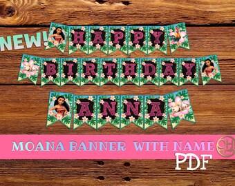 Moana Banner Personalized, Moana printable, Moana birthday, Moana Party, moana decorations, moana birthday party, party moana, moana