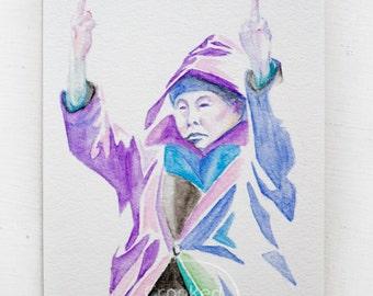 Original Watercolor Pencil Painting 5x7 of Resistance Auntie Wall Art - Resist Portrait, Feminist Gift Idea, Powerful Woman, Girls Rule