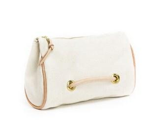 Large Zipper Pouch / Canvas dopp kit / Bridal clutch bags /  Zippered clutch / Wedding clutches / Bridal clutch bag
