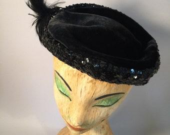1950s hat | 50s hat | sequin hat | black hat | noir style | velvet
