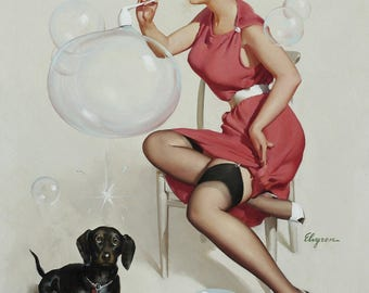 Pin Up Girl Art Print Reproduction, neat_trick_1958 by Gil Elvgren