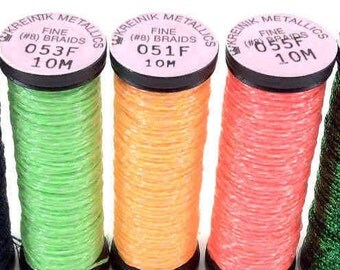 Glow-In-The Dark Kreinik Spools various lengths & sizes: #16, #8 and #4 Braid plus Filament Blends