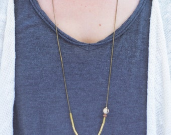 Brass, wood and acai seed necklace