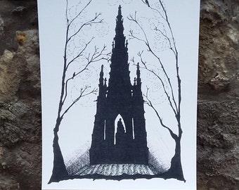 Edinburgh Scott Monument with birds-monument-Scotland-Scottish-A3 print-A4 print-art print-home decor-wall art-Scottish art-travel-unique