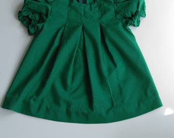 Vintage Baby Dress 80s |  Green 1980s Puffed Sleeves A-line Infant Lightweight Summer Dress | Size 9 to 12 Months