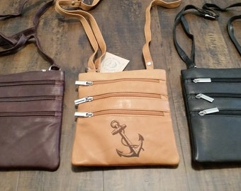 Genuine Leather Purse // Custom Laser Engraved // Monogrammed Purse // Crossbody Purse