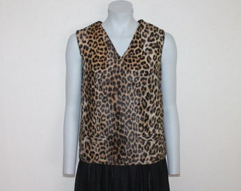 Vintage Top Leopard Print Top Women Top Brown Gold Sleeveless Top Animal Print Blouse