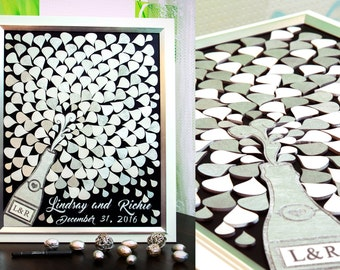 3D Guest book White Silver Sign guest book Wedding guest book Alternative wedding guestbook Splash Champagne guest book Wood Guest book