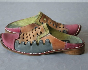 Vintage Multicolored summer mules with decorative holes Square toe Colorful Genuine leather mules Vintage clogs with holes