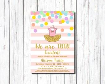 Tutu Baby Shower Invitation for girl, pink, Hot pink tutu baby shower invitations, Girls Baby Shower Invitations, Tutu Invitation, Silver