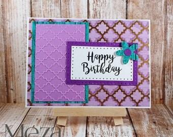 Handmade Happy Birthday Card - Purple and Teal