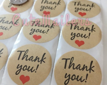 50-100 Kraft Thank You Stickers