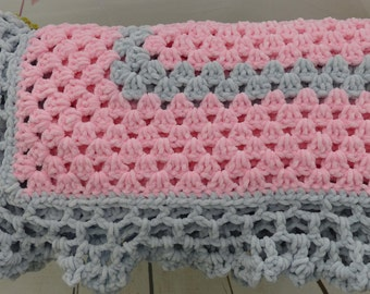 Beautiful soft Granny Square Crochet baby blanket- Pink and Gray