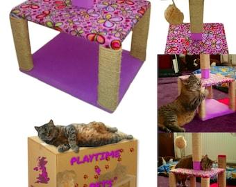 Cat Scratch Tree, Cat Scratching Post, Cat Scratcher with Padded Cat bed.  Jingle Catnip Ball.