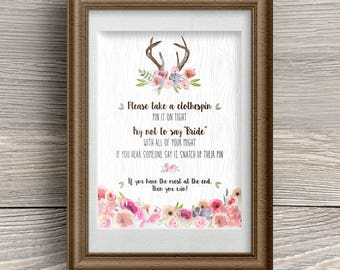 "Printable Rustic Faux Bois Watercolor Wildflowers Antlers Clothespin Game; Bridal Wedding or Couple's Shower, 8""x10"", JPG Instant Download"