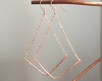 Rose Gold Chain and Hammered Chevron Dangle Earrings