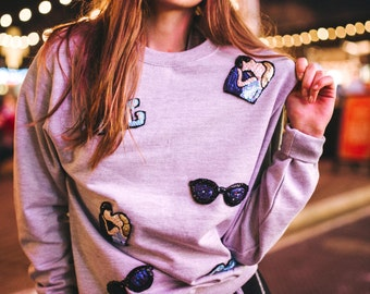 Silver Dust Sweatshirt with Embroidered Patches