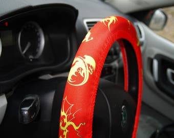 Steering wheel cover Car accessories Birthday gift for him Dragon style Dragons decor Dragon gift Gift for man Car accessory Wheel decors