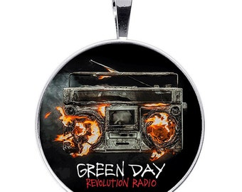 GREEN DAY Revolution Radio adjustable necklace key ring 30mm logo resin handmade