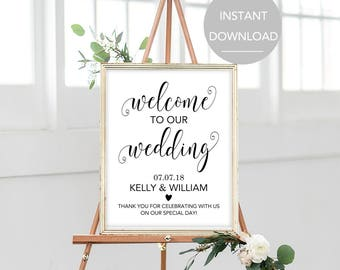 Wedding Welcome Sign, Large Wedding Welcome Sign, Welcome Wedding Sign, Printable Welcome Sign, Welcome Sign Instant Download (CFP-001)