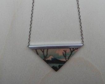 Necklace, wooden pendant, Fotopotch, Japan, Katsushika Hokusai