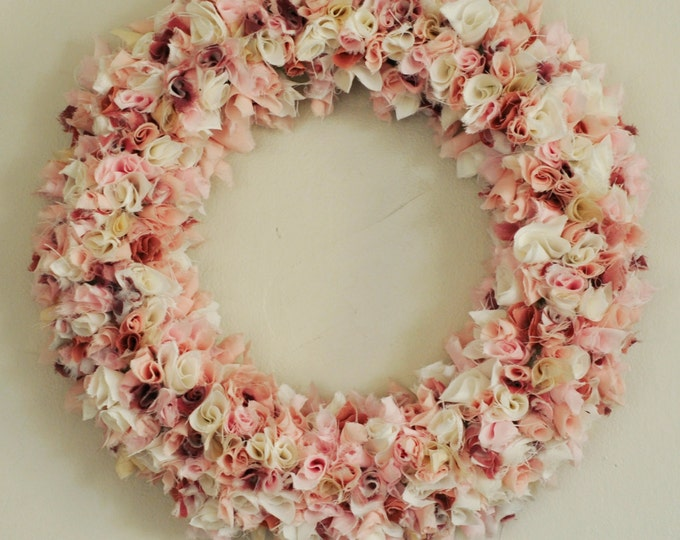 Spring wreath, red wreath, boho wreath, Spring decor, pink wreath, white wreath, fabric wreath, year round wreath, custom, recycle