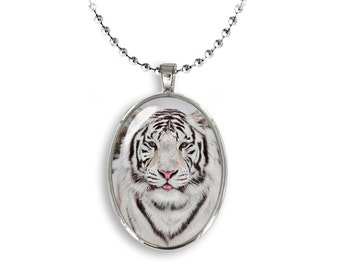 White Tiger Oval Pendant White Tiger Necklace Photo Pendant TigerJewelry