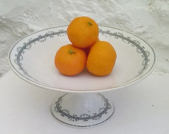 Antique French pedestal plate, compotiere or cake stand by Gien