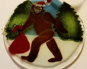Bigfoot Sasquatch Fused Glass Suncatcher Christmas Ornament