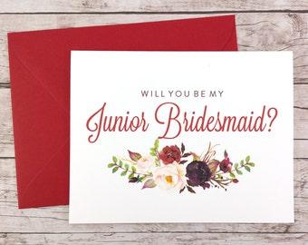 Will You Be My Junior Bridesmaid Card, Bridesmaid Proposal Card, Floral Bridesmaid Card, Wedding Card, Bridesmaid Gift - (FPS0050)