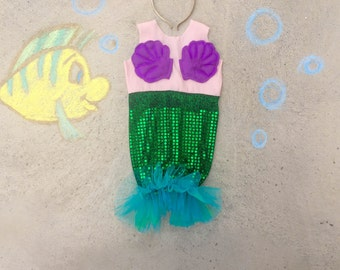 Halloween girls toddler Mermaid costume , ariel costume, size 6M size 12M size 18M size 2 size 3 size 4 size 5 size 6 size 7  berry and kit