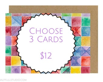 Choose 3 Cards, Mix and Match Cards, Card Bundle, Card Set, Assorted Card, Blank Greeting Cards