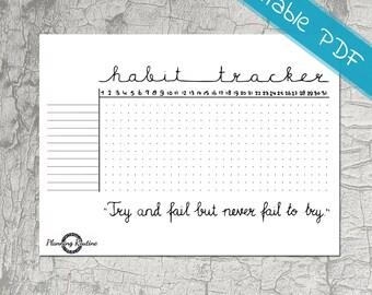Habit Tracker Printable, Daily Habits Planner, Planner Stickers, Printable PDF