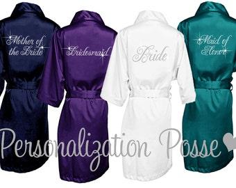 Bride Robe, Bridesmaid Robe, Bridal Party Robe, Custom Robe, Rhinestone Embellished Satin Bridal Robe, Maid of Honor Robe, Bridesmaid Gift