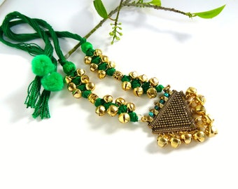 Green Thread Necklace, Bell Pendant Necklace, Green and Gold Necklace Earring Set, Indian Thread Jewelry, Antique Gold Triangle Pendant.