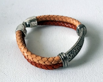 Braided leather Cuff bracelet, Classic leather cuff, Casual design, Cognac and sand colors,