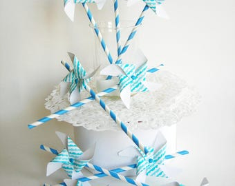 Paper straw, pinwheels 9 pieces.  Party, wedding, cake, children's Party.